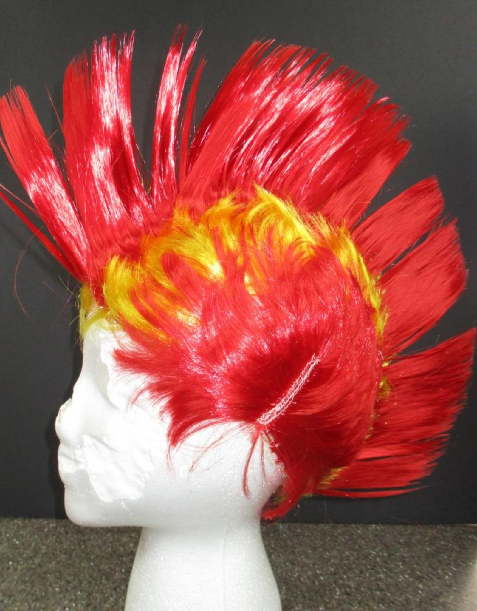Mohawk Wig - Red/Yellow