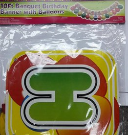 10 Feet Banquet Birthday Banner With Balloons