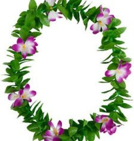 Luau Flower Leis  Green Leaves and Assorted two colour flowers