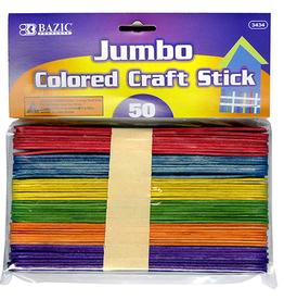 Jumbo Craft Stick Wooden Multi-coloured 50pcs
