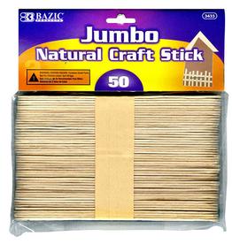 Jumbo Craft Stick Wooden Natural 50pcs