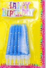 12Ct Blue Printed Birthday Candle With Sign