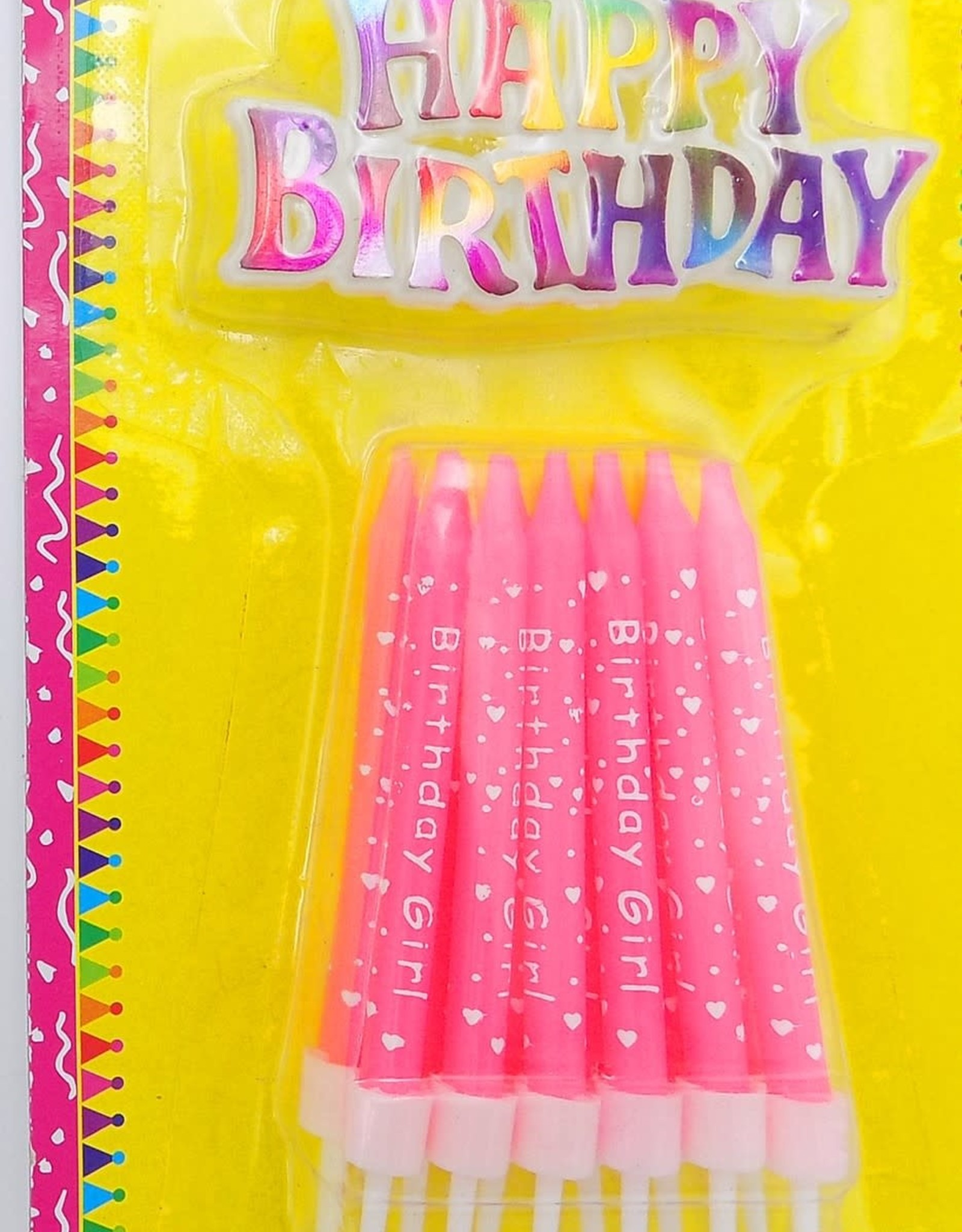 12Ct Pink Printed Birthday Candle With Sign