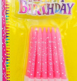 Pink Printed Birthday Candle With Sign