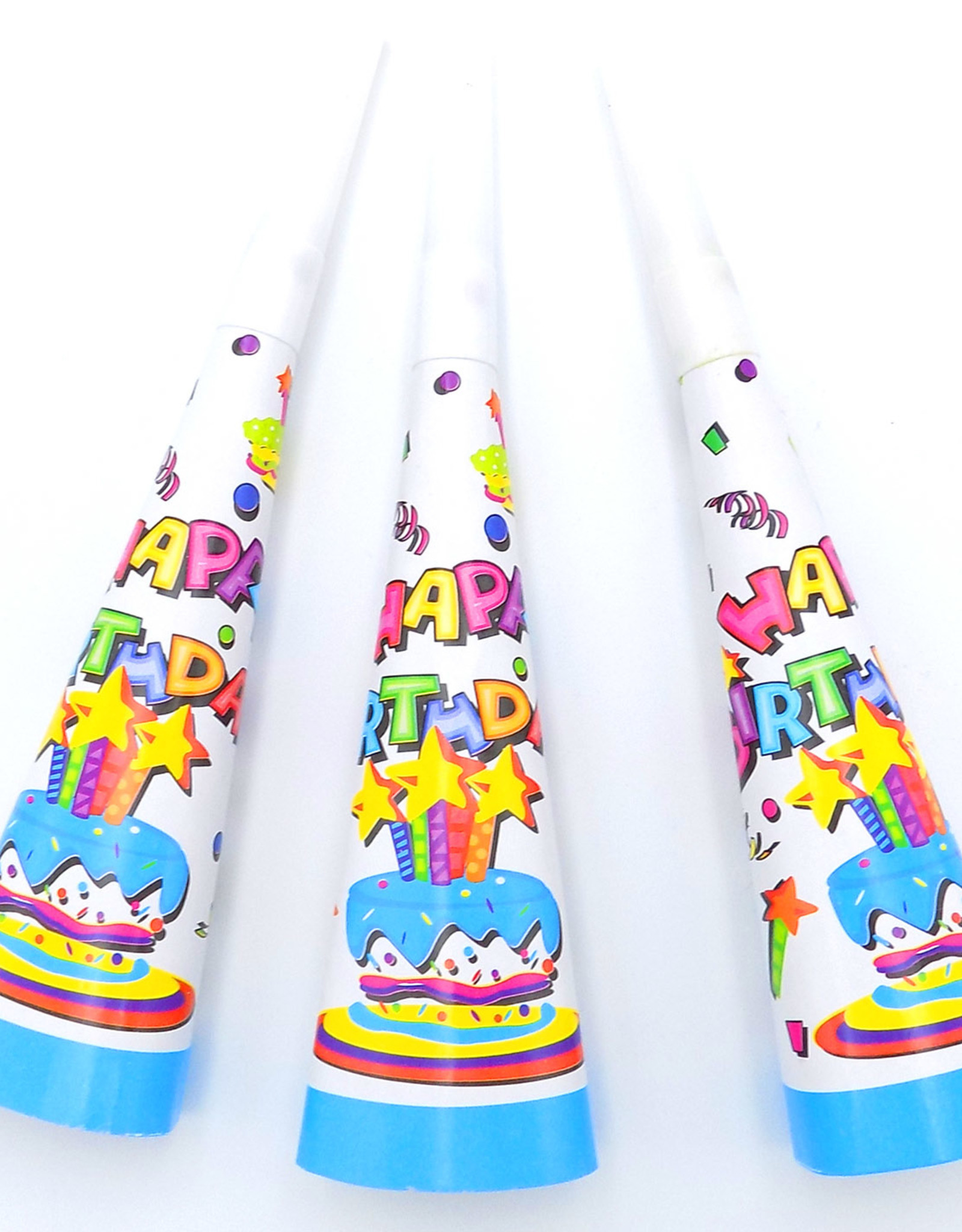 6Ct Printed Party Horns, Birthday Sparkle