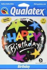 "18"" 2 Sided Printed Mylar Balloon Happy Birthday Black/Stars"