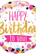 "18"" 2 Sided Printed Mylar Balloon Happy Birthday Pink/Black"