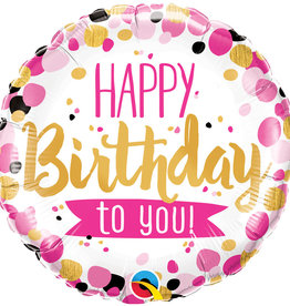 Happy Birthday Pink/Black Balloon 18 Inch