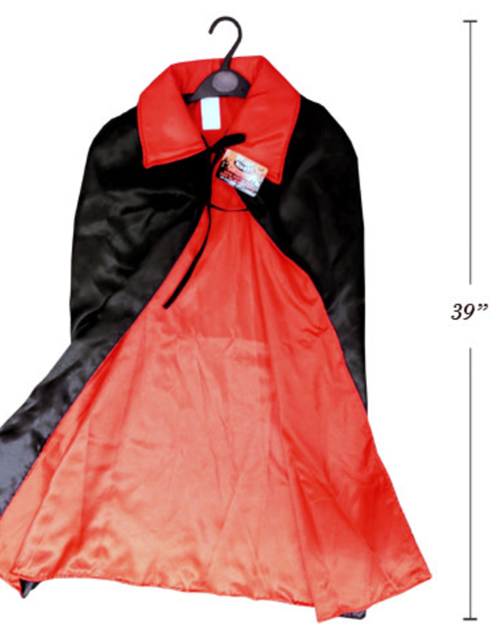 39 Inch Deluxe Satin Vampire Cape with 4.5 Inch Stand Up Collar
