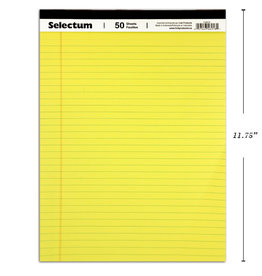 Selectum Notepad - Yellow Paper Writing Pad - Letter Size