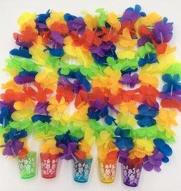 LUAU FLOWER LEIS W/ ASST TEQUILA SHOT GLASS