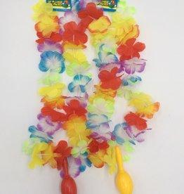 LUAU FLOWER LEIS W/ ASST MARACAS