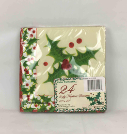 Christmas 24ct 2ply Beverage Napkins (5 Inches), Holly Leaves