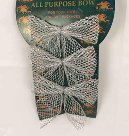 Christmas Bow Silver Small (3 Pieces)