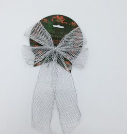 Christmas Bow Silver Large (1 Piece)