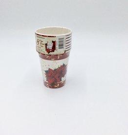 Cups 9oz 8CT Christmas Poinsettia