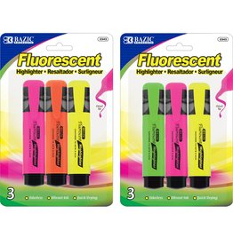 Fluorescent Highlighter with pocket clip (3 pieces)
