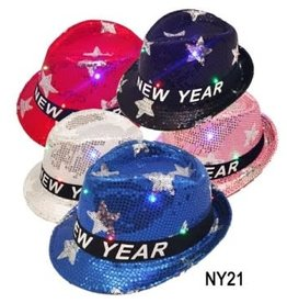 Sequin Light Up Happy New Year Fedora Stars