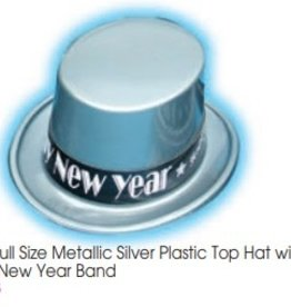 Metallic Silver Plastic Top Hat with New Year Band