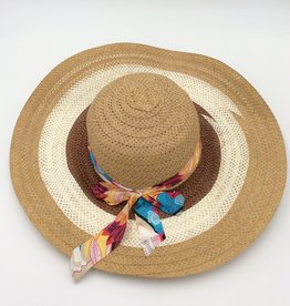 Ladies Straw Hat Large Rim With Floral Ribbon