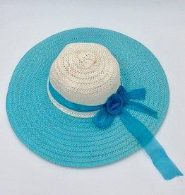 Ladies Straw Hat (Large Rim) with Sheer Ribbon - Ivory & Blue