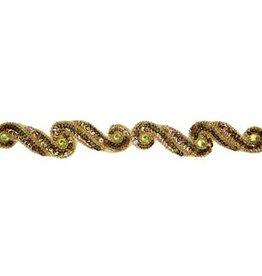 Sequin Trimming (card) Dark Gold AB 3.8 cm Swirl (5 meters)