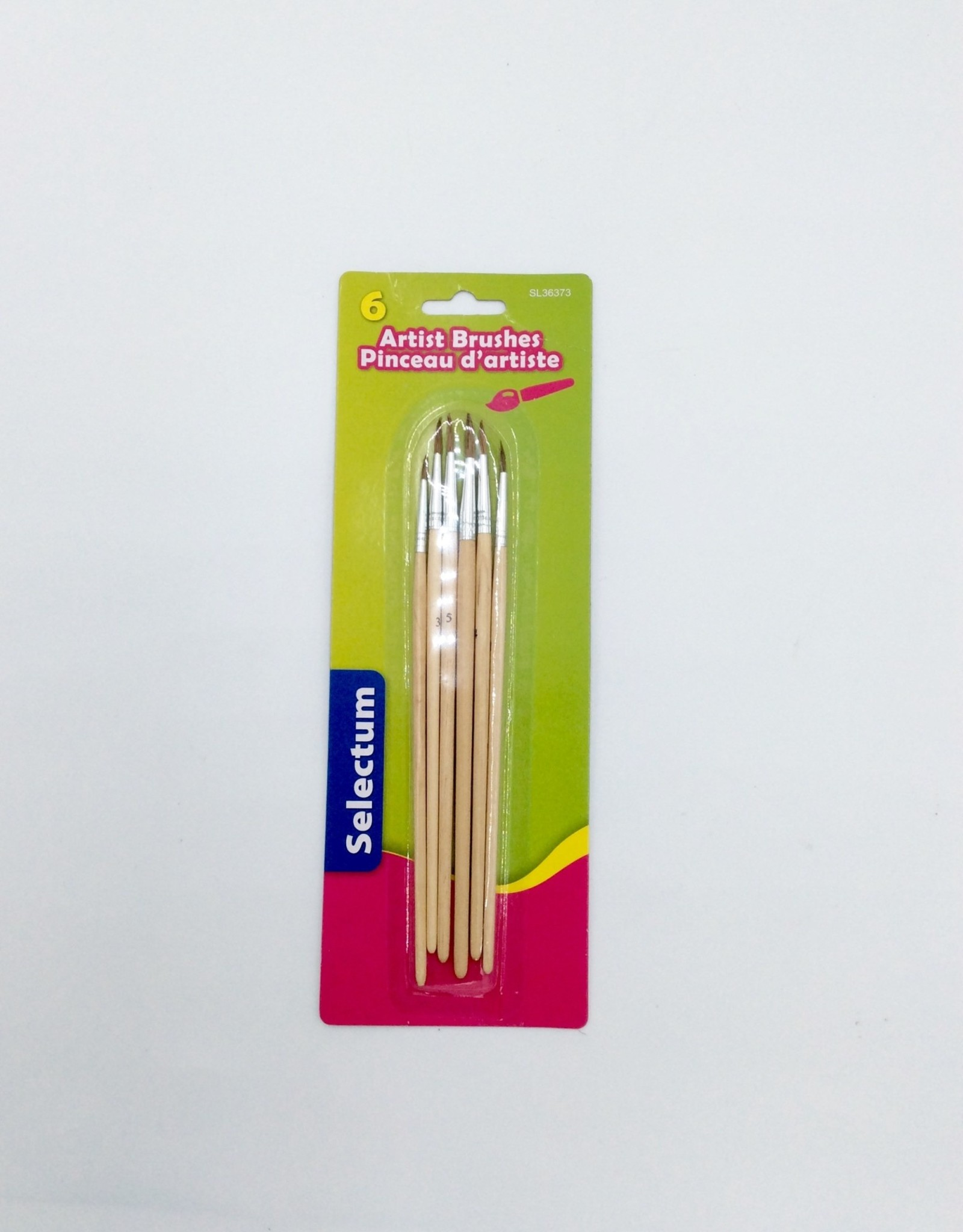 Selectum 6 Art.Brushes Round Point Natural Wood Handle