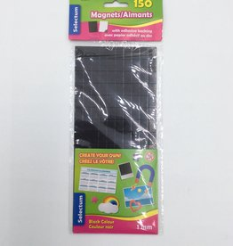 Selectum 150 Magnets With Adhesive Backing 1Mm Thick- Black Square Shape