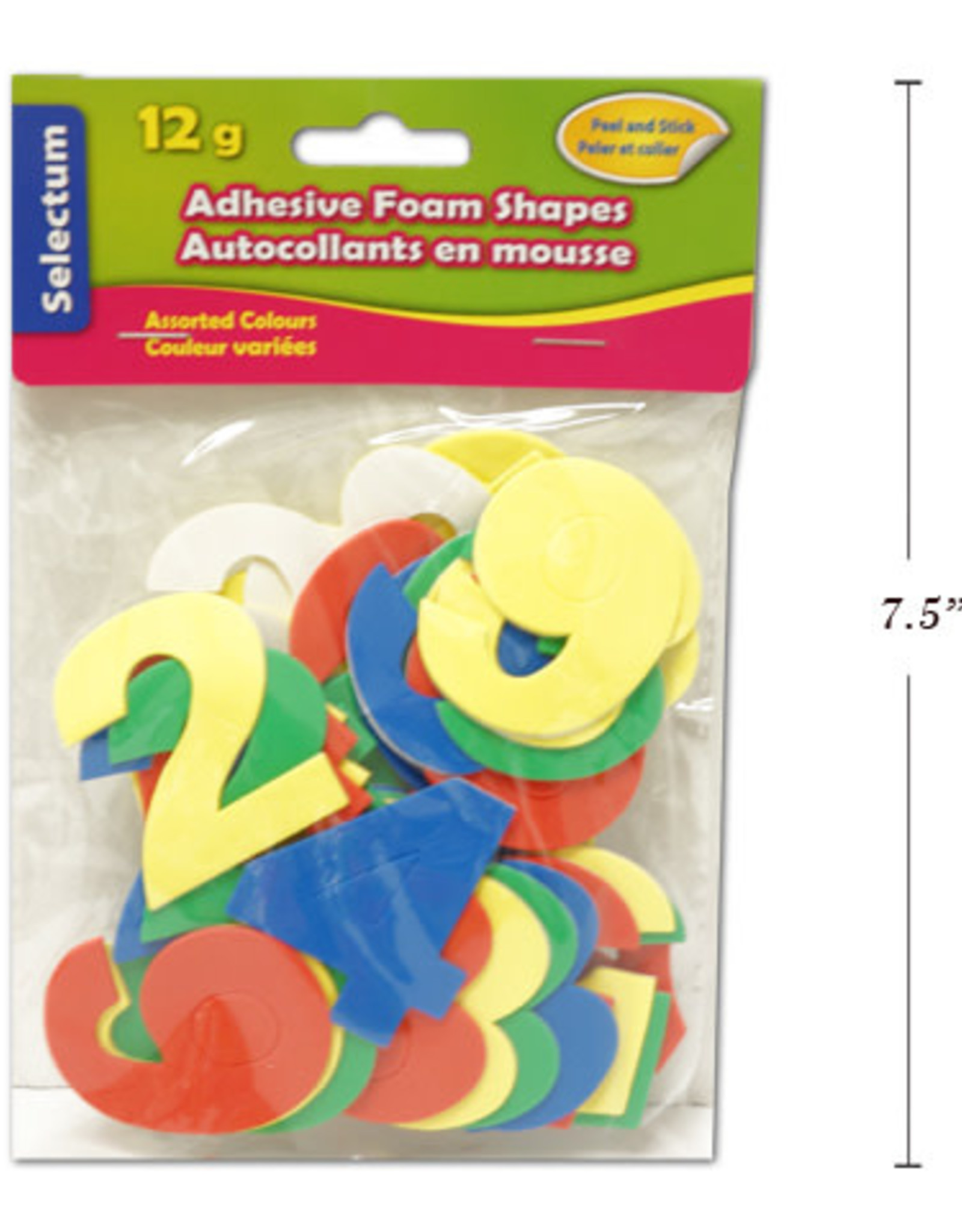 "Selectum Adhesive ""Numbers"" Foam Shapes 12 Gms ( 5Cm ) Asst Colours"