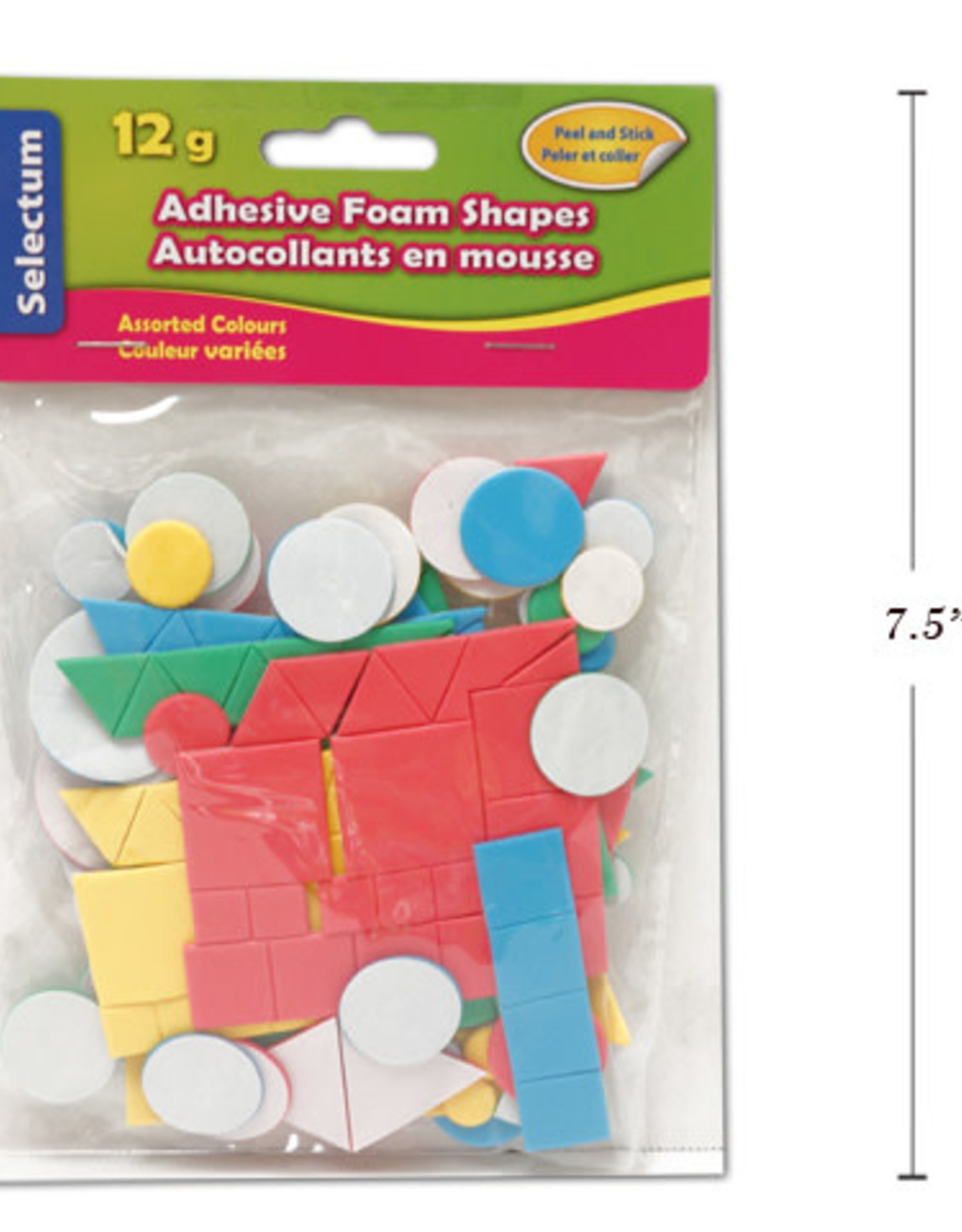 Selectum Adhesive Foam Shapes And Sizes 12 Gms Asst Colours