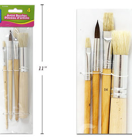 Selectum 4 Pc Artist Brushes Set Assorted Shapes Round And Flat