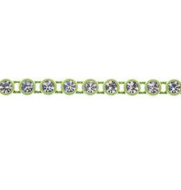 Preciosa Rhinestone Banding 1 row Grass Green Casing/Crystal ss13/3.2-3.3mm Round (Yard)