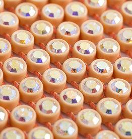 Preciosa Rhinestone Banding 1 row Apricot Casing/Crystal AB ss13/3.2-3.3mm Round (Yard)