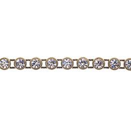 Preciosa Rhinestone Banding 1 row Antique Gold Casing/Crystal ss13/3.2-3.3mm Round (yard)