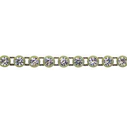 Preciosa Rhinestone Banding 1 row Khaki Casing/Crystal ss13/3.2-3.3mm Round (yard)