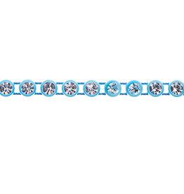 Preciosa Rhinestone Banding 1 row Light Blue Casing/Crystal ss13/3.2-3.3mm Round (yard)