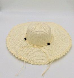 Ladies Straw Hat Large Rim With Beads-