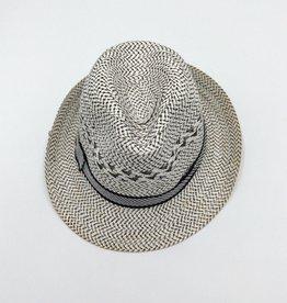 Straw Fedora Hat  - White & Black