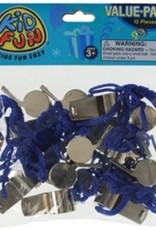 Metal Whistles W/Lanyards (12 Pieces)