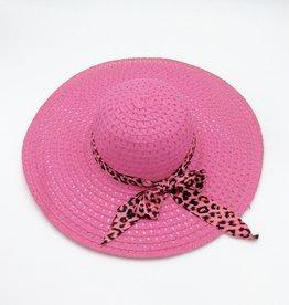 Ladies Straw Hat (Large Rim) Diamond Cut Leopard Print Ribbon