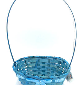 Easter Basket Oval Bamboo w/Handle & Bow