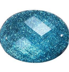 Resin Sew-on Glitter Stone 30x40mm Oval