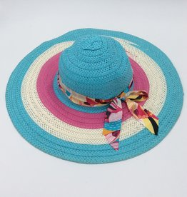 Ladies Straw Hat (Large Rim) with Floral Print Ribbon - Blue, Ivory, Pink