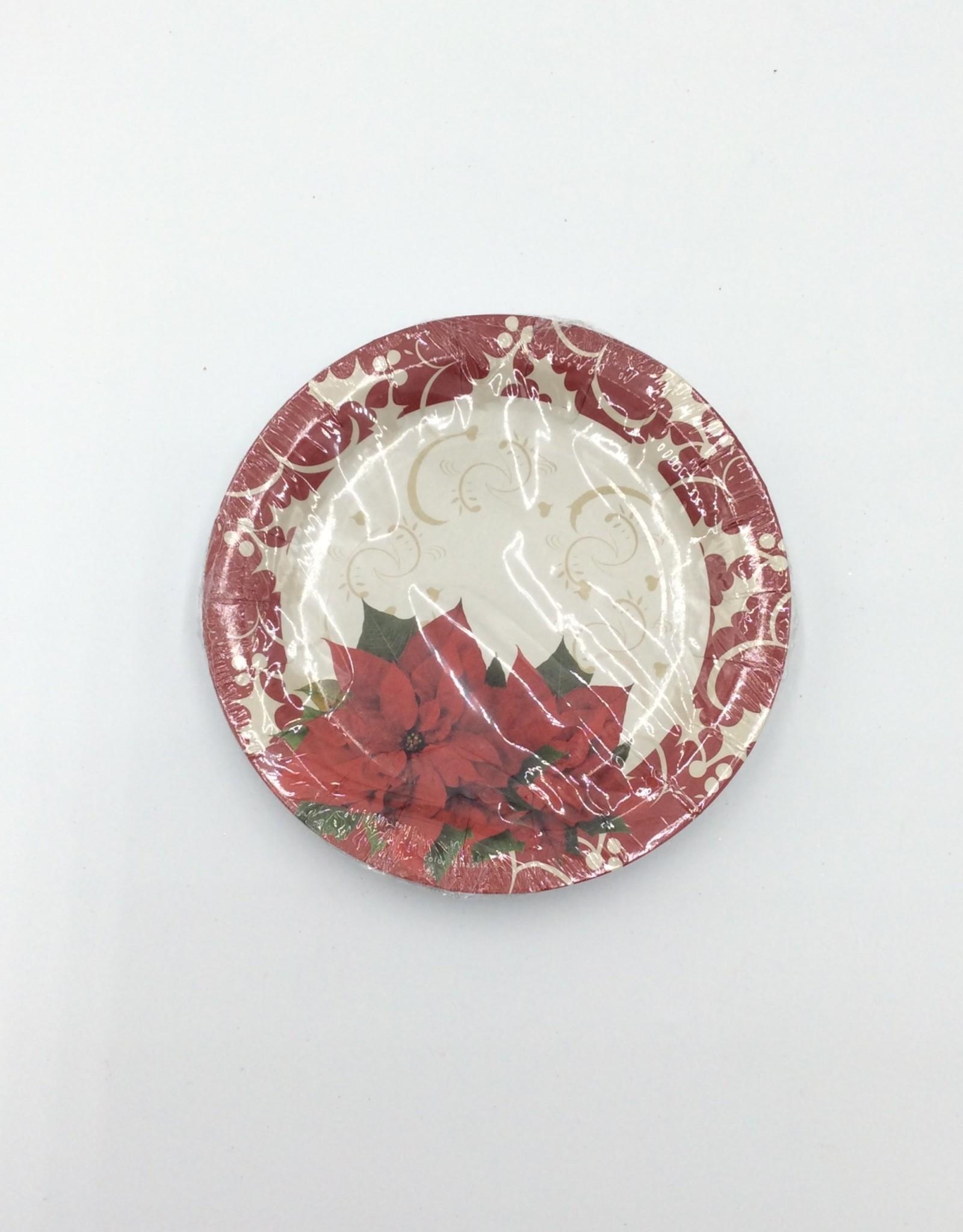 """Christmas Plates 7"""" (8pk) Poinsettia"""