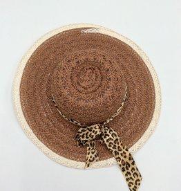 Ladies Straw Hat (Large Rim) with Leopard Print Ribbon Brown
