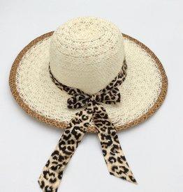 Ladies Straw Hat (Large Rim) with Leopard Print Ribbon Cream