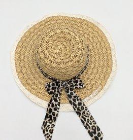 Ladies Straw Hat (Large Rim) with Leopard Print Ribbon Natural