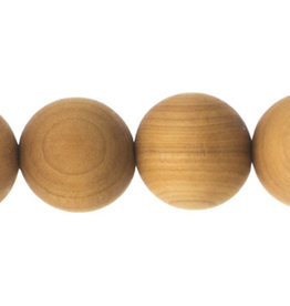 Cedar Wood Bead Round 8 Inches Natural 12mm