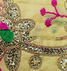 Sequin Brocade Lame Flower 42 Inches Light Gold (Yard)