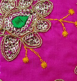 Sequin Brocade Lame Flower 42 Inches Fuchsia Pink (Yard)